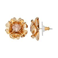Simply Vera Vera Wang Nickel Free Pink Stone Flower Stud Earrings