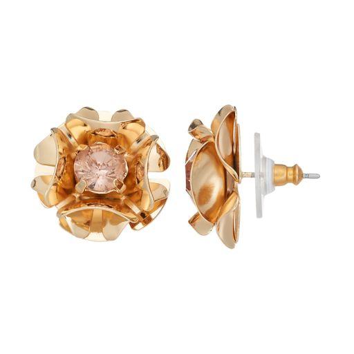 Simply Vera Vera Wang Pink Stone Flower Stud Earrings