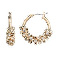 Simply Vera Vera Wang Nickel Free Simulated Crystal Cluster Hoop Earrings