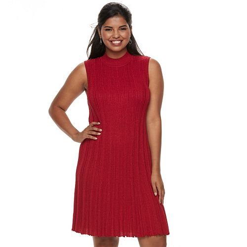 Juniors' Plus Size Candie's® Sleeveless A-Line Sweater Dress