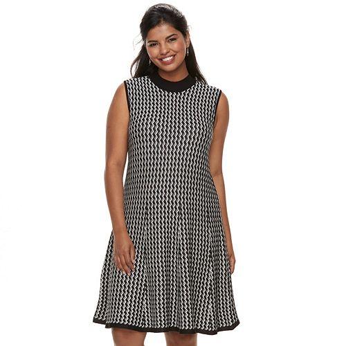 Juniors Plus Size Candies Chevron A Line Sweater Dress