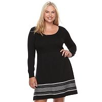 Juniors' Plus Size Cloud Chaser Ribbed Sweater Dress