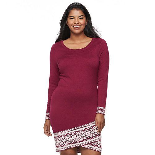 Juniors' Plus Size Cloud Chaser Print Hem Sweater Dress
