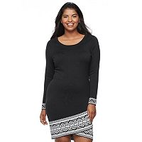 Juniors' Plus Size Cloud Chaser Print Hem Sweater Dress
