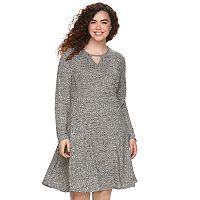 Juniors' Plus Size Cloud Chaser Ribbed Skater Dress