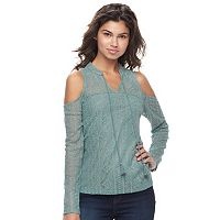 Juniors' Mudd® Illusion Lace Cold-Shoulder Top