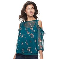 Juniors' Mudd® Ruffle Cold-Shoulder Top