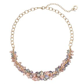 Simply Vera Vera Wang Pink Beaded Cluster Necklace