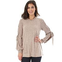 Juniors' IZ Byer Split Sleeve Necklace Top