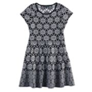 Girls 7-16 My Michelle Patterned Knit Sweater Skater Dress