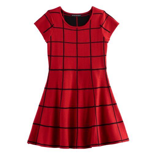 Girls 7-16 My Michelle Patterned Knit Sweater Skater Dress