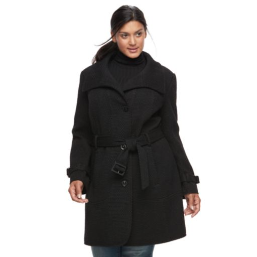 Plus Size Gallery Belted Wool Blend Coat