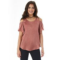 Juniors' IZ Byer California Satin Cold Shoulder Top