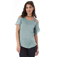 Juniors' IZ Byer Satin Cold Shoulder Top