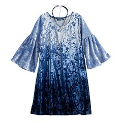 Girls 7-16 My Michelle Velvet Dip-Dye Dress with Choker Necklace