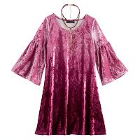 Girls 7-16 My Michelle Velvet Dip-Dye Dress with Choker Necklace