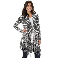 Juniors' IZ Byer Print Fringe Draped Cardigan