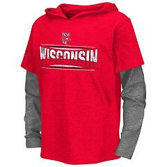 Boys 8-20 Campus Heritage Wisconsin Badgers Patrol Mock-Layer Tee