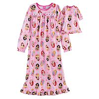 Disney's Princess Belle, Ariel, Jasmine & Rapunzel Girls 4-8 Nightgown & Doll Gown Set