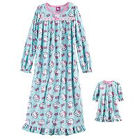 Girls 4-10 Hello Kitty® Pink Bow Nightgown & Doll Gown Set