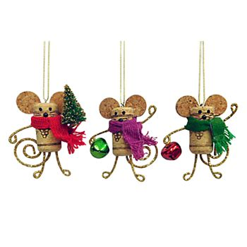 St Nicholas Square Wine Cork Mouse Christmas Ornaments 3 Piece Set