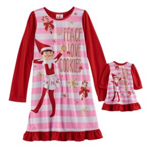 """Girls 6-12 The Elf on the Shelf® """"Peace Love Cookies"""" Elf on the Shelf Nightgown & Doll Gown Set"""