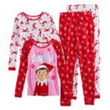 "Girls 6-12 The Elf on the Shelf® ""Let it Snow"" 4 pc Tops & Bottoms Pajama Set"