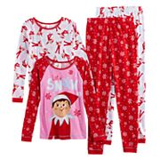Girls 6-12 The Elf on the Shelf® 'Let it Snow' 4 pc Tops & Bottoms Pajama Set