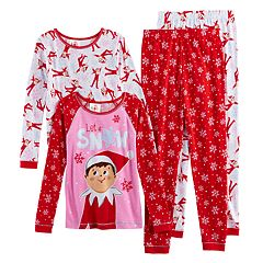 Girls 6-12 The Elf on the Shelf® 'Let it Snow' 4-pc. Tops & Bottoms Pajama Set