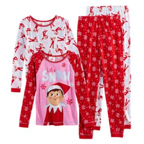 "Girls 6-12 The Elf on the Shelf® ""Let it Snow"" 4-pc. Tops & Bottoms Pajama Set"