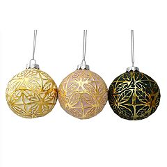 St. Nicholas Square® Embossed Glass Ball Christmas Ornaments 3-piece Set