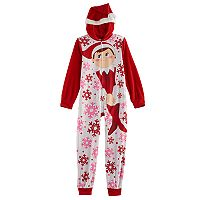 Girls 6-10 The Elf on the Shelf® Santa Hat One-Piece Pajamas