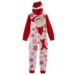 Girls 6-10 The Elf on the Shelf® Santa Hat One-Piece Pajamas