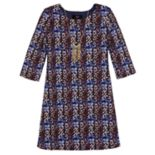 Girls 7-16 IZ Amy Byer 3/4-Sleeve Textured Knit Dress with Necklace
