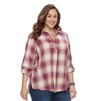Plus Size SONOMA Goods for Life™ Crinkle Flannel Pullover Shirt