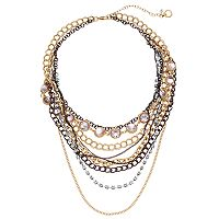 Simply Vera Vera Wang Tri Tone Multi Strand Necklace