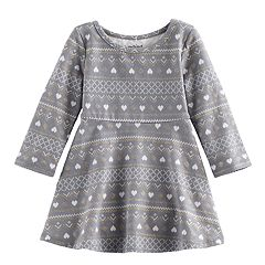 Jumping Beans® Baby Girl Glitter Fairisle Skater Dress