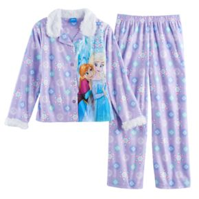 Disney's Frozen Elsa & Anna Girls 4-10 Plush Lined Top & Bottoms Pajama Set