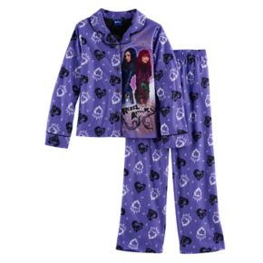 "Disney's Descendants 2 Evie & Mal Girls 6-12 ""Rebel Attitude"" Button-Front Top & Bottoms Pajama Set"