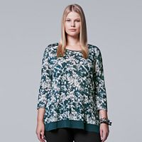 Plus Size Simply Vera Vera Wang Chiffon Trim Printed Top