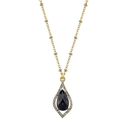 1928 Faceted Teardrop Caged Pendant Necklace