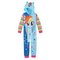 Girls 4-10 My Little Pony Rainbow Dash 3D Ears & Mane One-Piece Pajamas