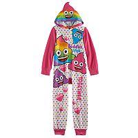 Girls 6-12 Rainbow Emoji Fleece One-Piece Pajamas