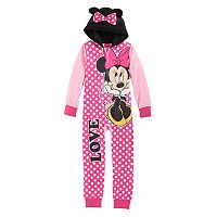 Disney's Minnie Mouse Girls 4-8 3D Ears One-Piece Pajamas