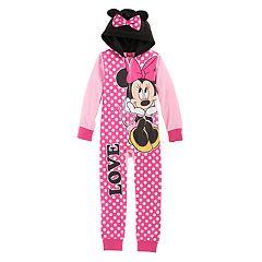 Disney's Minnie Mouse Girls 4-8 3D Ears One-Piece Pajamas