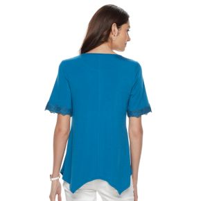 Women's Dana Buchman Lace-Trim Sharkbite Top