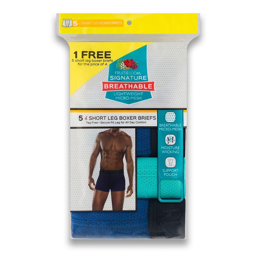 Men's Fruit of the Loom Signature 4-pack + 1 Bonus Breathable Micro-Mesh Short-Leg Boxer Briefs