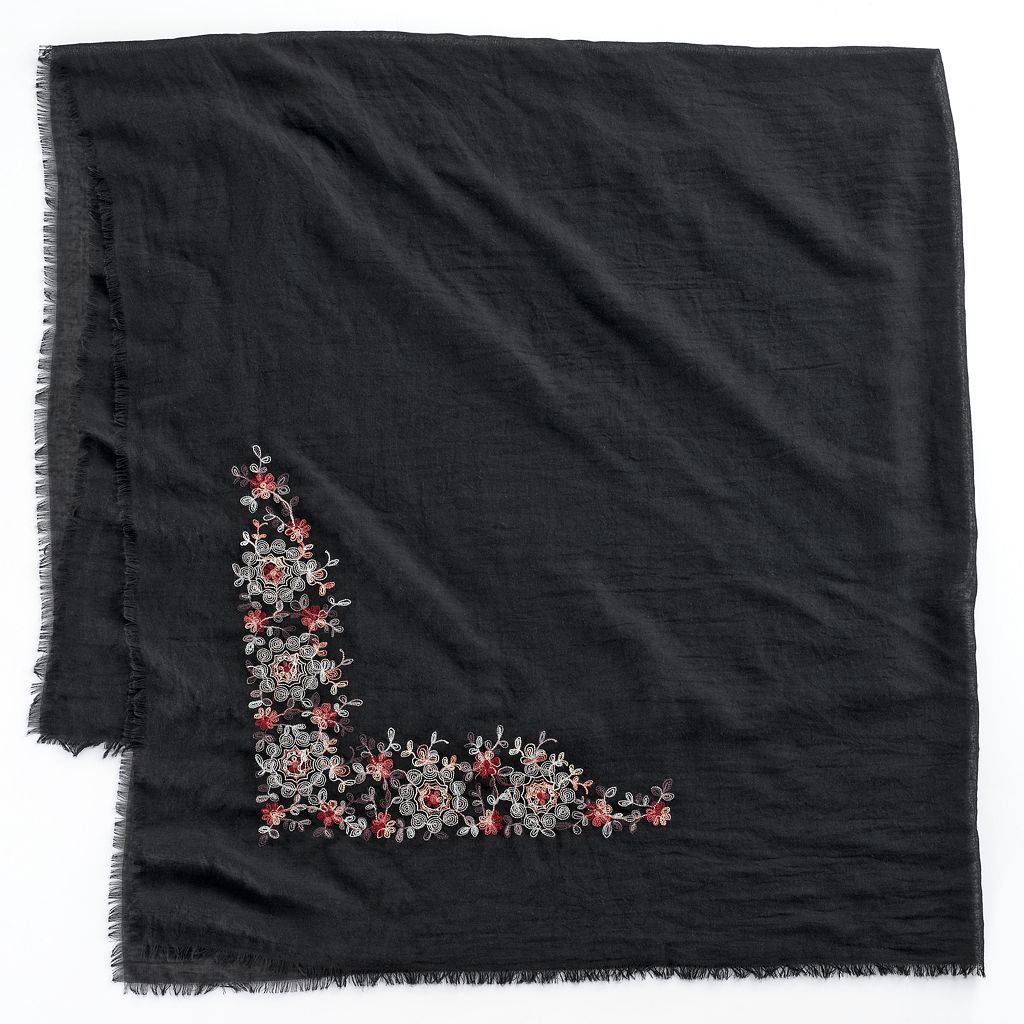LC Lauren Conrad Embroidered Floral Square Scarf