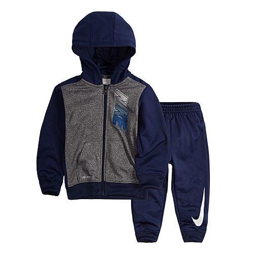 Baby Boy Nike Colorblock Therma-FIT Hoodie & Pants Set