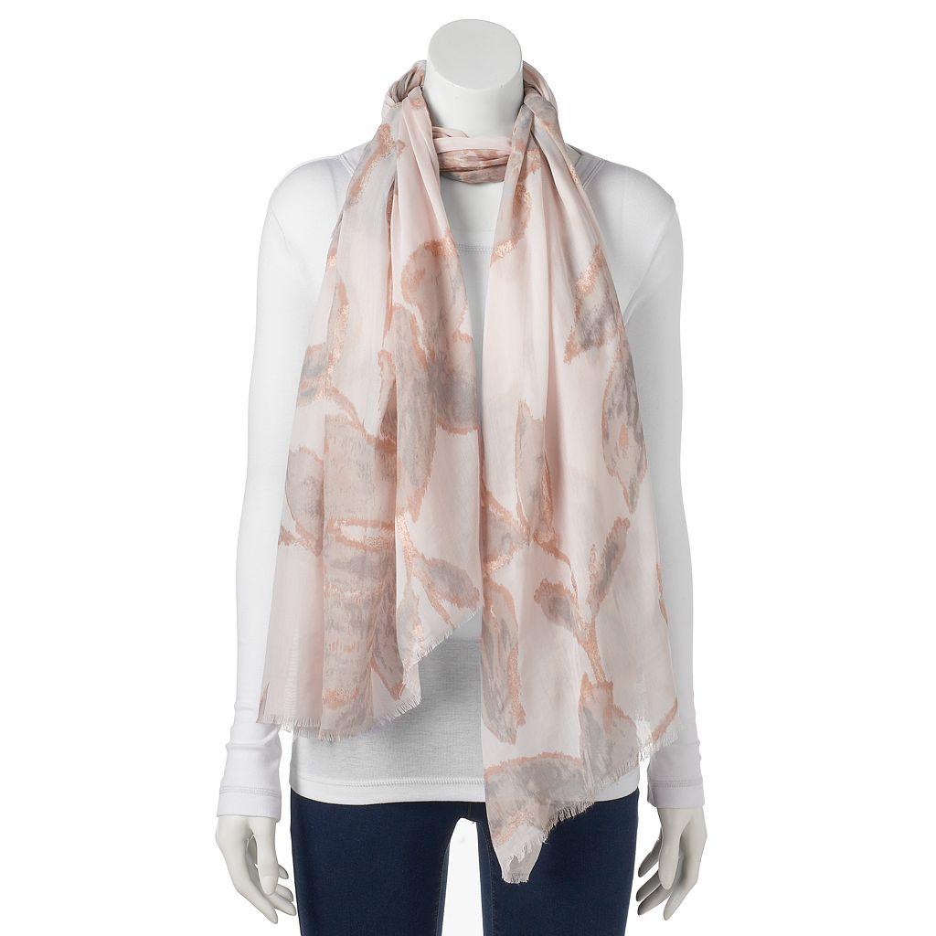 LC Lauren Conrad Foil Floral Wrap Scarf